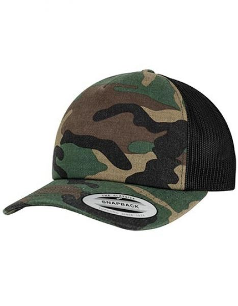 Camo Trucker Cap - Caps - Camouflage-Caps - FLEXFIT Wood Camo - Black