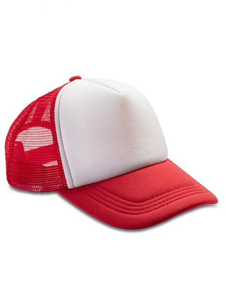 Detroit ½ Mesh Truckers Cap - Result Headwear Red - White