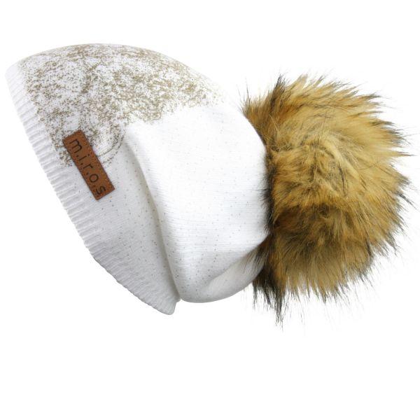 Long Beanie Mütze Moni in Weiss / handgemachte Wintermütze Pom Pom Dipdruck