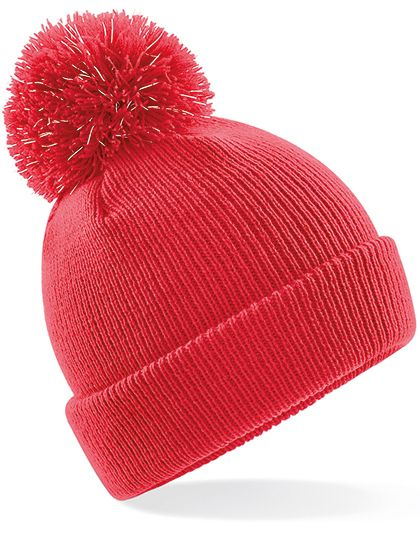 Junior Reflective Bobble Beanie - Kinderbekleidung - Kinder Caps & Mützen - Beechfield Bright Red