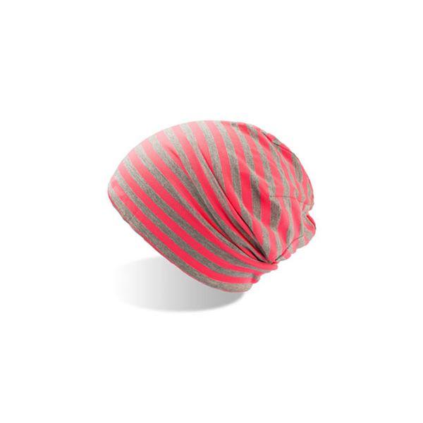 Unisex Beanie Grau Pink Leichte Mütze Wintermütze Strickmütze