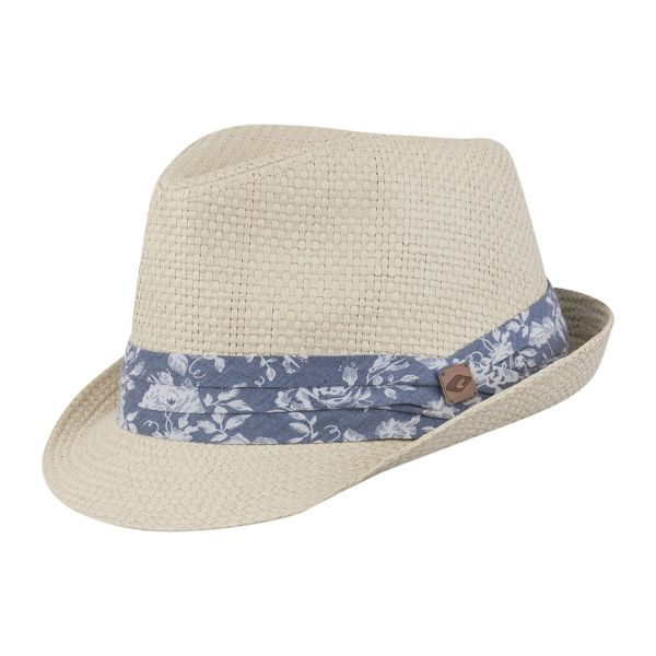 CHILLOUTS Minneapolis Hat Blau/Natur | Fedora Trilby Hut | Strohhut S-M