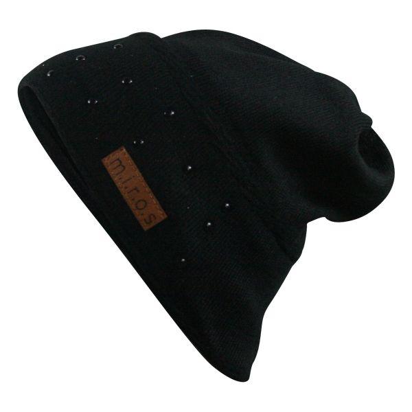 Anne Damen Wintermütze Schwarz mit Perlen | handgemachte Strick Mütze