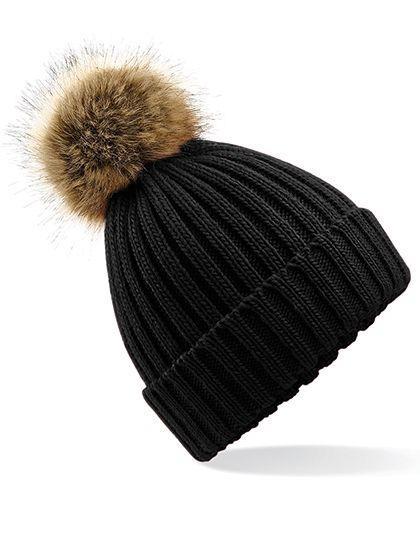 Faux Fur Pop Pom Chunky Beanie - Winteraccessoires & Mützen - Mützen - Beechfield Black