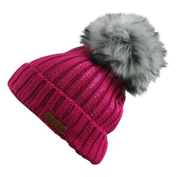 Colette Damen Wintermütze Pink mit Glitzer | handgemachte PomPom Mütze