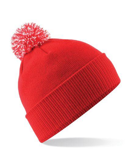 Junior Snowstar® Beanie - Kinderbekleidung - Kinder Caps & Mützen - Beechfield Bright Red - Off White
