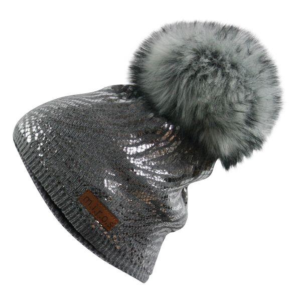 Mandy Damen Wintermütze Dunkelgrau silberner Print | handgemachte Bommel Mütze