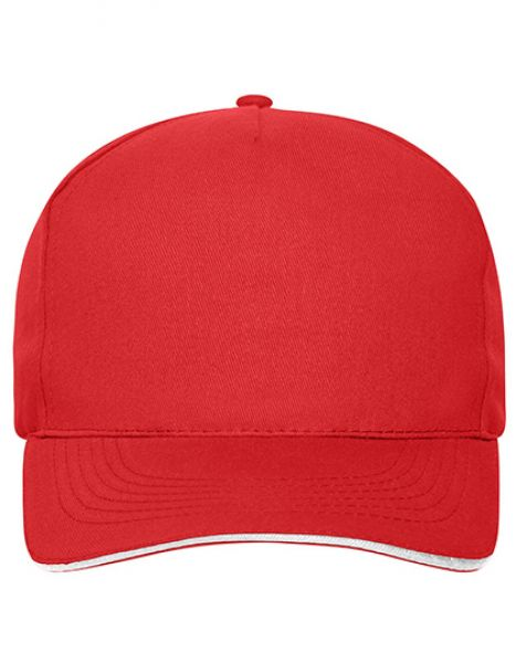 5 Panel Sandwich Cap Bio Cotton - Myrtle beach Red - White