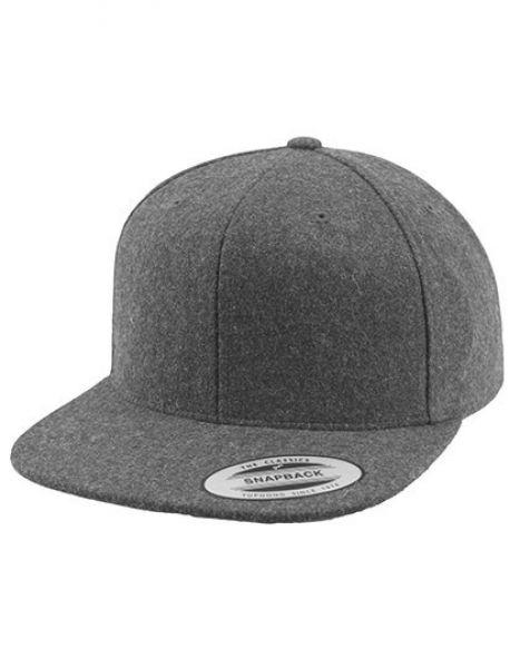 Melton Wool Snapback Cap - FLEXFIT Dark Grey