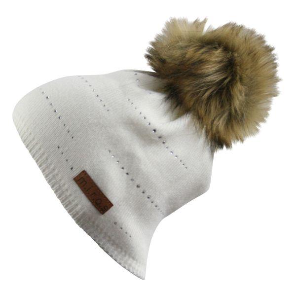 Tiffany Damen Wintermütze Weiss mit Kristallen | handgemachte Bommel Mütze