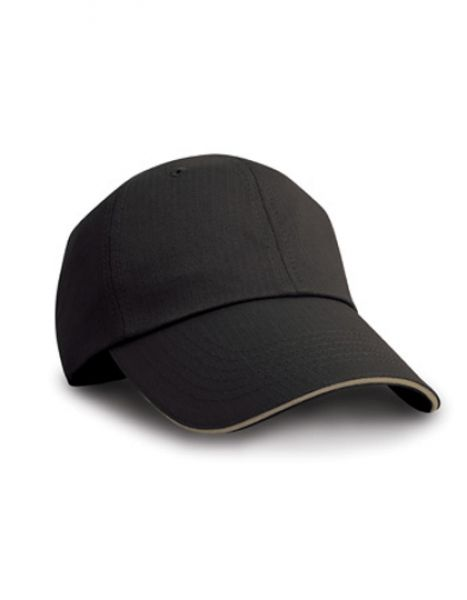 Herringbone Cap with Sandwich Peak - Caps - 6-Panel-Caps - Result Headwear Black - Tan