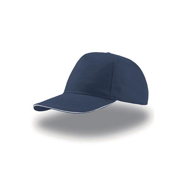 Unisex 5-Panel Cap Navy Blau Weiss Baseball Cap Mütze