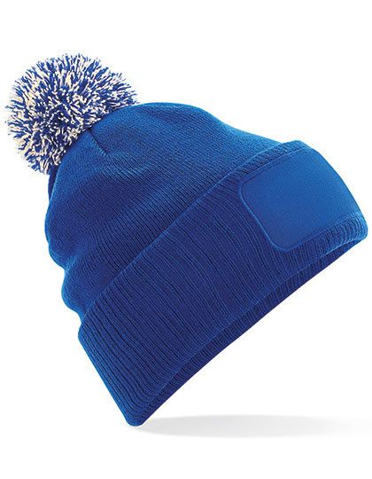 Snowstar® Patch Beanie - Beechfield Bright Royal - Off White