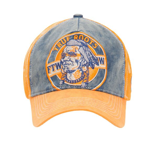 King Kerosin Herren Trucker Cap -True Roots- Vintage - blue/orange