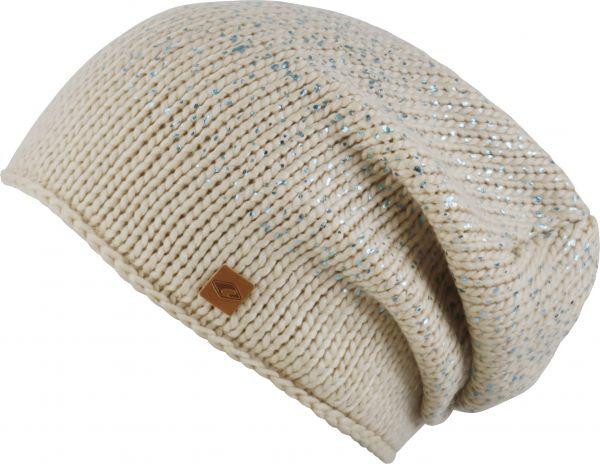 CHILLOUTS Aileen Hat Wintermütze in Beige Blau Metallic | Beanie Mütze