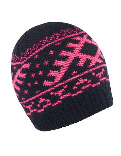 Nordic Knitted Hat - Winteraccessoires & Mützen - Mützen - Result Winter Essentials Black - Hot Pink