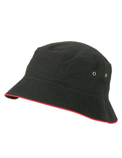 Fisherman Piping Hat - Caps - Hüte - Myrtle beach Black - Red