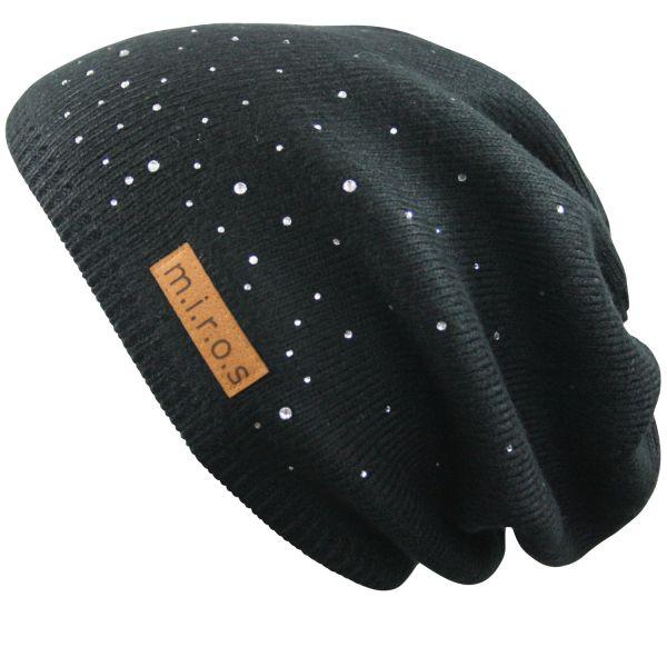 Long Beanie Mütze Julie Schwarz / handgemachte Wintermütze mit Kristallen