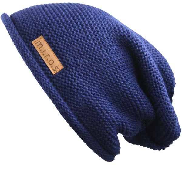 Long Beanie Mütze Alex Navy Blau - handgemachte Strickmütze - Herren & Damen
