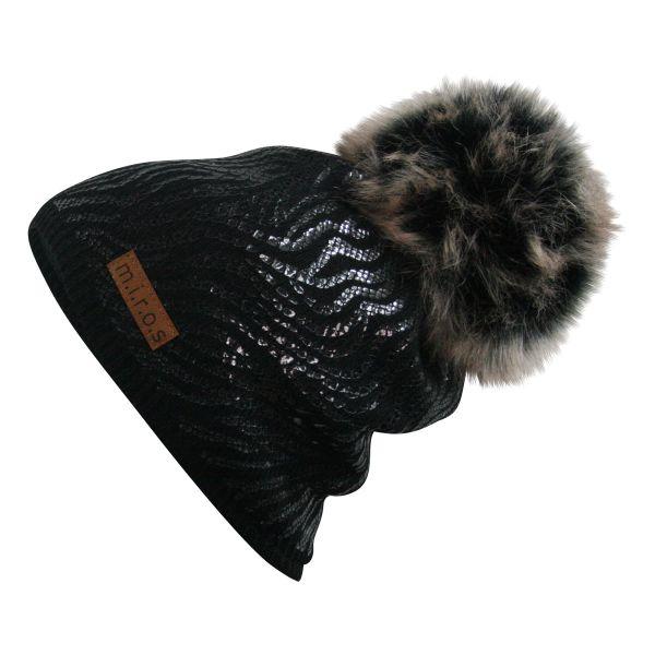 Mandy Damen Wintermütze Schwarz mit schwarz Print | handgemachte Bommel Mütze