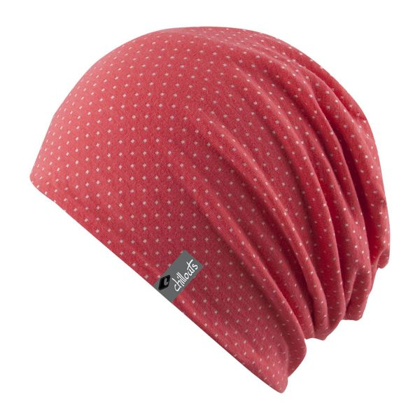 CHILLOUTS Florence Kinder Mütze in S | Sommermütze Long Beanie Coral Pink Weiß