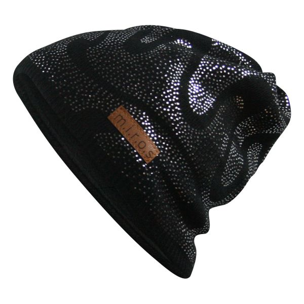 Lin Damen Wintermütze Schwarz mit silbernem Druck | handgemachte Strick Mütze