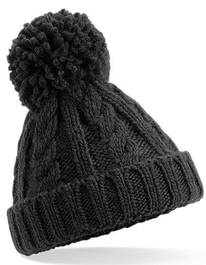 Infant Cable Knit Melange Beanie - Beechfield Black