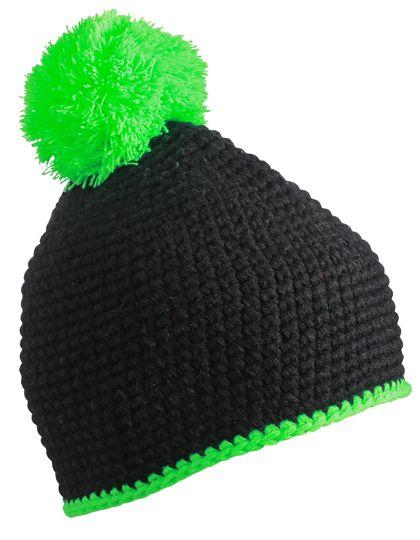 Pompon Hat with Contrast Stripe - Winteraccessoires & Mützen - Mützen - Myrtle beach Black - Neon Green