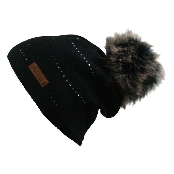 Tiffany Damen Wintermütze Schwarz mit Kristallen | handgemachte Bommel Mütze