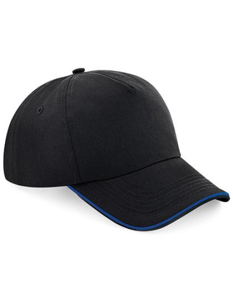 Authentic 5 Panel Cap - Piped Peak - Beechfield Black - Bright Royal