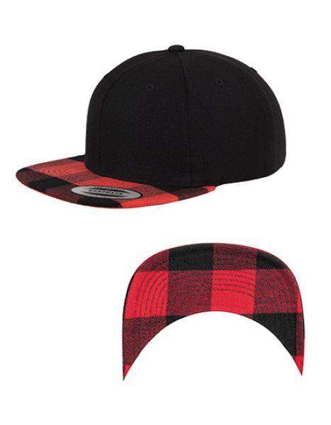 Checked Flanell Peak Snapback Cap - FLEXFIT Black - Red