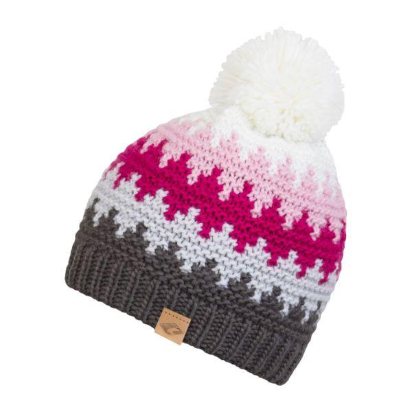 CHILLOUTS Ross Hat Herren Bommelmütze in grau pink Wintermütze