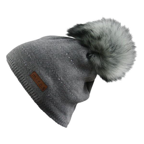 Tiffany Damen Wintermütze Grau mit Kristallen | handgemachte Bommel Mütze