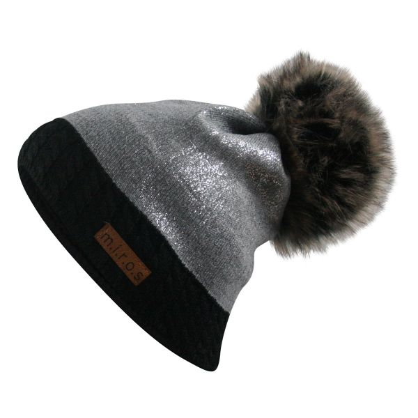 Brittany Damen Wintermütze Schwarz Hellgrau | handgemachte PomPom Mütze