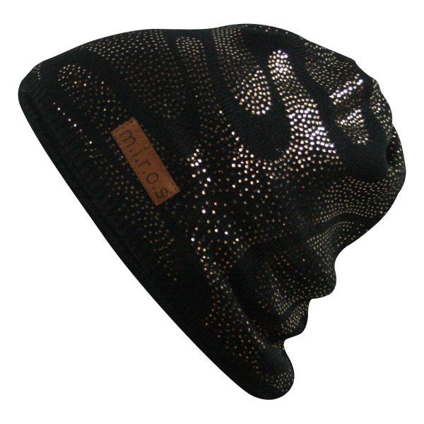 Lin Damen Wintermütze Schwarz mit goldenem Druck | handgemachte Strick Mütze
