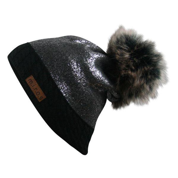 Brittany Damen Wintermütze Schwarz Dunkelgrau | handgemachte PomPom Mütze