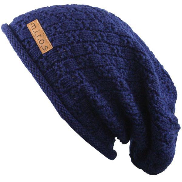 Long Beanie Mütze Chris in Navy Blau / handgemachte Mütze