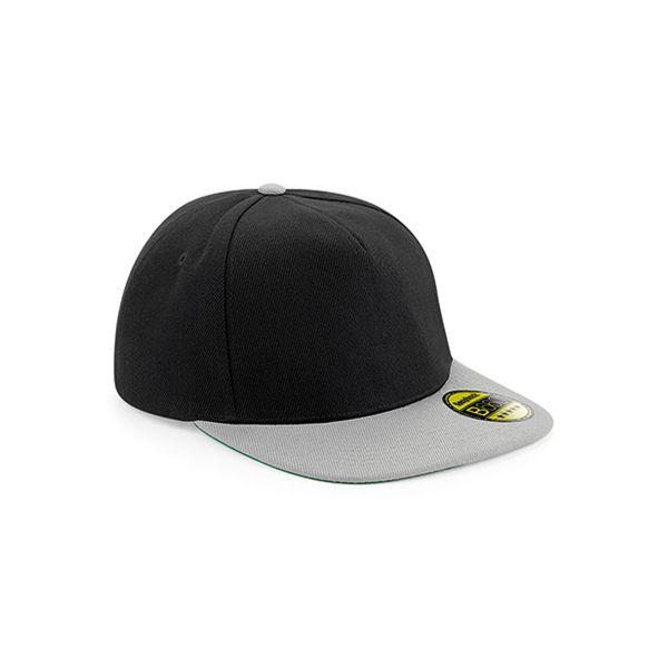 Unisex 5-Panel Cap Schwarz Grau Snapback Cap Mütze