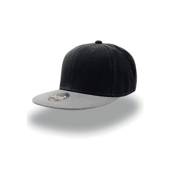 Unisex 6-Panel Cap Schwarz Grau Snapback Cap Mütze