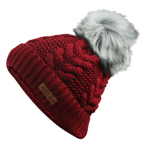 Emely Damen Wintermütze Rot | handgemachte PomPom Zopf Strickmütze