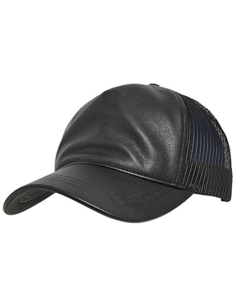 Leather Trucker Cap - FLEXFIT Black - Black