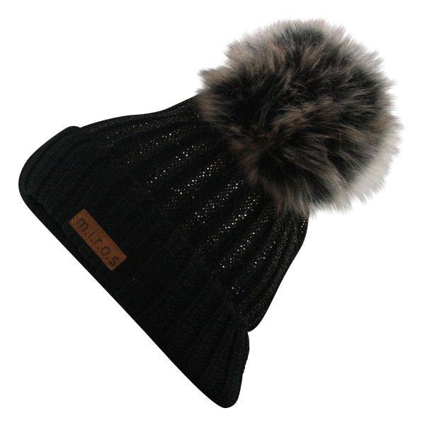Colette Damen Wintermütze Schwarz mit Glitzer | handgemachte PomPom Mütze
