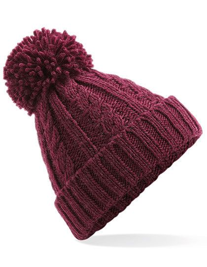 Cable Knit Melange Beanie - Beechfield Burgundy
