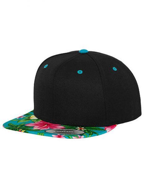 Hawaiian Snapback - Caps - 6-Panel-Caps - FLEXFIT Black - Aqua (Hawaiian)
