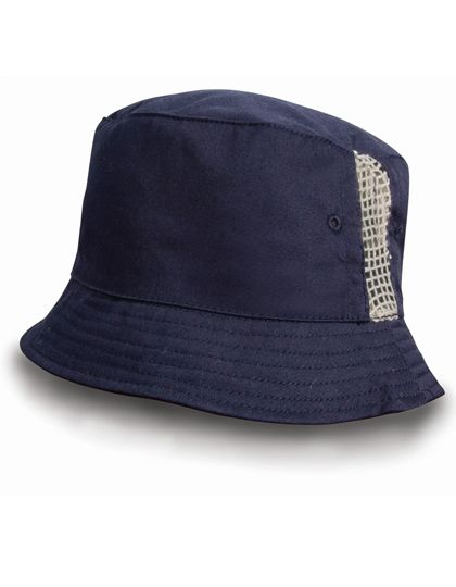 Deluxe Washed Cotton Bucket Hat with Side Mesh Panels - Caps - Hüte - Result Headwear Navy