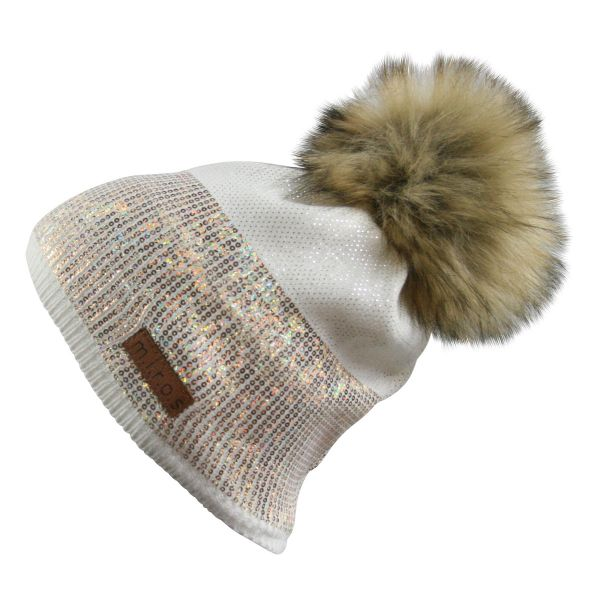 Sandy Damen Wintermütze Weiss mit goldenem Pailletten Print | handgemachte Mütze