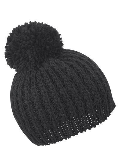 Knitted Flute Pom Pom Hat - Winteraccessoires & Mützen - Mützen - Result Winter Essentials Black