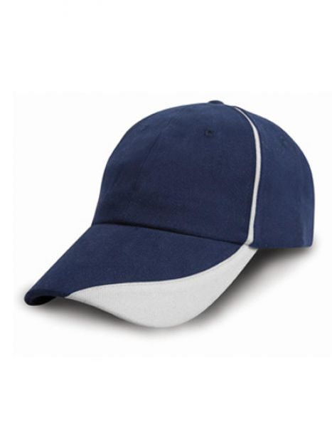 Heavy Brushed Cotton Cap with Scallop Peak and Contrast Trim - Caps - 6-Panel-Caps - Result Headwear Navy - White