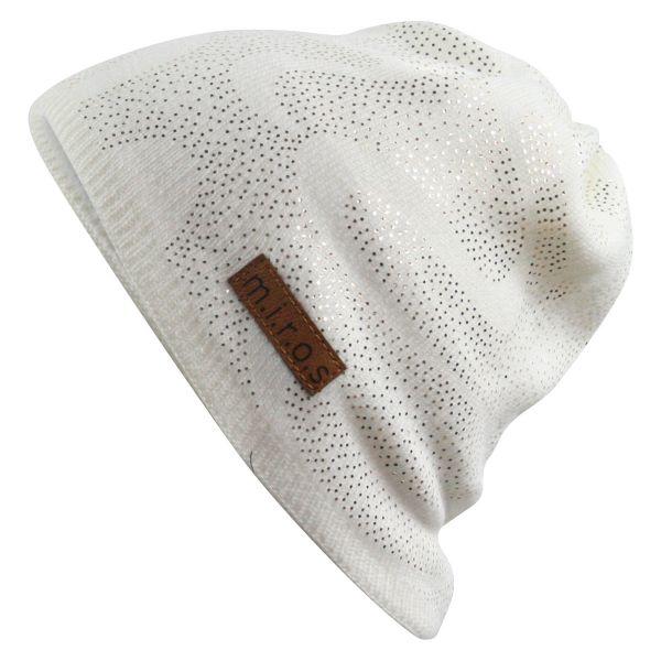 Lin Damen Wintermütze Weiss mit goldenem Druck | handgemachte Strick Mütze