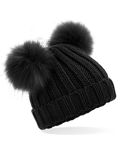 Infant Faux Fur Double Pom Pom Beanie - Beechfield Black